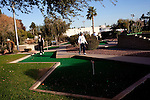 "Alvina and Louis Brouner play a game of putt putt at the mini-golf course at the Lakeview Recreation Center in Sun City, Arizona December 9, 2010. They play putt putt every day. The pair are newlyweds from Minnesota who live in Sun City in the winter. ""Can you think of a better place?,"" Louis said of Sun City."