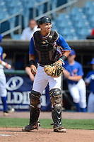 Catcher Matt Morgan (7) of Thorsby High School in Thorsby, Alabama playing for the New York Mets scout team during the East Coast Pro Showcase on August 1, 2013 at NBT Bank Stadium in Syracuse, New York.  (Mike Janes/Four Seam Images)