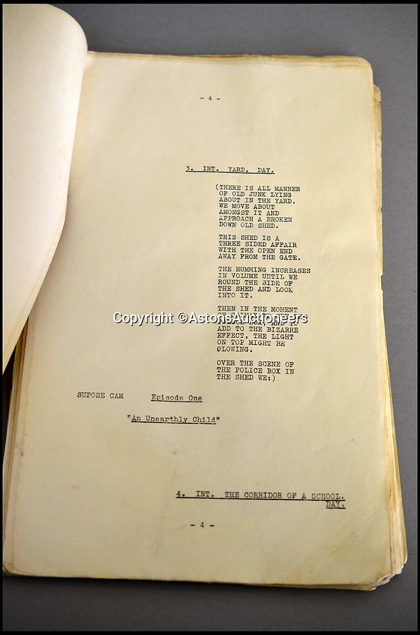 BNPS.co.uk (01202) 558833Pic: AstonsAuctioneers/BNPS<br /> <br /> The rescued script for first Doctor Who episode could sell for up to £7,000...<br /> <br /> The script for the very first Doctor Who episode that was rescued from a skip 50 years ago has emerged for sale.<br /> <br /> The 43-page document was owned by William Hartnell, the first actor ever to play the famous role, and still has his annotations on it.<br /> <br /> The owner was eight years old and a huge Doctor Who fan when his grandfather gave him the rare piece of memorabilia.<br /> <br /> He worked for a building company that had been clearing out and renovating Hartnell's former home in Mayfield, East Sussex, and found the script among the rubbish that was being thrown out.<br /> <br /> The script has been given an estimate of £5,000 to £7,000 and will be sold by Dudley-based Aston's Auctioneers on May 3.