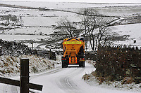 Gritting snow on road near Botton Head, Lancashire between High Bentham and Slaidburn.