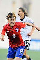 Korea Republic defender Lim Seonjoo (6) in action during the International Friendly soccer match between the USA Women's National team and the Korea Republic Women's Team held at Gillette Stadium in Foxborough Massachusetts.   Eric Canha/CSM