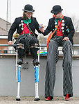 170318<br /> Shorty and Tiny of Fumbling Bufoonery take a break during St Patricks Day parade in Ennis.Pic Arthur Ellis.