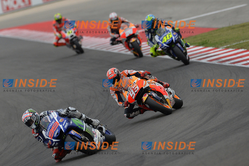 Lg Misano Adriatico (San Marino) - gara Moto GP / foto Luca Gambuti/Image Sport/Insidefoto<br /> nella foto: Jorge Lorenzo-Marc Marquez-Valentino Rossi