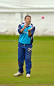 Cricket - Greenock XI v Cricket Scotland Presidents XI to celebrate Greenock CC's 150th Anniversary - at Glenpark - current and former Scotland International players played in the game including former Ranger goalkeeper Andy Goram (here about to get to grips with the new pink cricket ball) - 26.8.12 - 07702 319 738 - clanmacleod@btinternet.com - www.donald-macleod.com