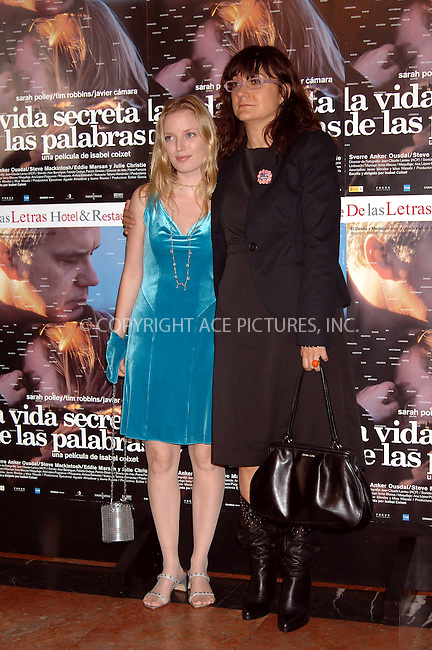 WWW.ACEPIXS.COM . . . . .  ... . . . . US SALES ONLY . . . . .....MADRID, OCTOBER 20, 2005....Sarah Polley and Isabel Coixet at the Spanish premiere of The Secret Life of Words.....Please byline: FAMOUS-ACE PICTURES-J. APARICIO... . . . .  ....Ace Pictures, Inc:  ..Craig Ashby (212) 243-8787..e-mail: picturedesk@acepixs.com..web: http://www.acepixs.com