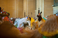 "Dancers in 30 colorful horse costumes perform ""Heard-NY"" by performance artist Nick Cave and choreographer William Gill in Vanderbilt Hall of Grand central Terminal in New York on Tuesday, March 26, 2013. The costumes made of fabric are each inhabited by two dancers from the Alvin Ailey School who meander around the hall like a herd of horses. Cave is known for his ""soundsuits"", costumes which are sculptures that make noise as the wearer moves about. The performances are twice a day at 11AM and 2PM until March 31. © Richard B. Levine)"