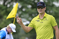 Zach Johnson (USA) sinks his birdie putt on the 9th green during Sunday's Final Round of the WGC Bridgestone Invitational 2017 held at Firestone Country Club, Akron, USA. 6th August 2017.<br /> Picture: Eoin Clarke | Golffile<br /> <br /> <br /> All photos usage must carry mandatory copyright credit (&copy; Golffile | Eoin Clarke)