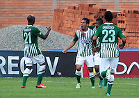 BUCARAMANGA -COLOMBIA, 10-08-2013. Jugadores de Nacional celebran un gol durante el encuentro entre Alianza Petrolera y Atlético Nacional válido  por la fecha 3 de la Liga Postobon II 2013 disputado en el estadioAlvaro Gómez Hurtado de la ciudad de Floridablanca./ Nacional players celebrate a goal during match between Alianza Petrolera and Atletico Nacional valid for the third date of the Postobon League II 2013 played at Alvaro Gomez Hurtado stadium in Floridablanca city Photo:VizzorImage / Jaime Moreno / STR