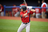 Potomac Nationals right fielder Rhett Wiseman (9) at bat during the first game of a doubleheader against the Salem Red Sox on June 11, 2018 at Haley Toyota Field in Salem, Virginia.  Potomac defeated Salem 9-4.  (Mike Janes/Four Seam Images)