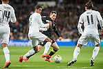 Real Madrid's Carlos Henrique Casemiro (L), Raphael Varane (C) and Gareth Bale and Sevilla FC's Sebastian Cristoforo during La Liga match. March 20,2016. (ALTERPHOTOS/Borja B.Hojas)