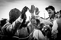 Dale Earnhardt celebrates his 4th Winston Cup championship, Atlanta Journal 500, Atlanta Motor Speedway, Hampton, GA, November 18, 1990. (Photo by Brian Cleary/bcpix.com)