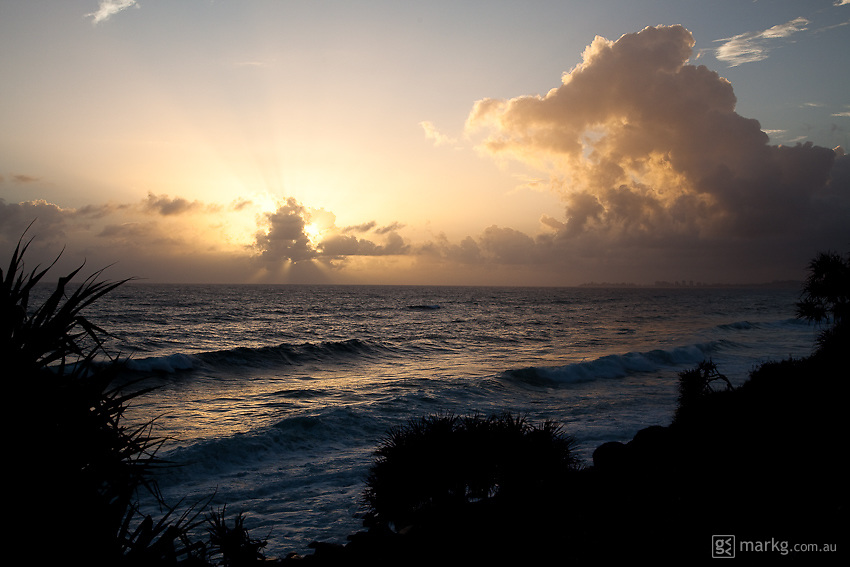 Sunrise over Burleigh Heads on the Gold Coast, Queensland Australia December 2009 - I had to get up at 4am to capture this one, but it was certainly worth it!