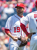 Washington Nationals starting pitcher Anibal Sanchez (19) grimaces as he tries to grip a baseball after injuring himself in the second inning against the New York Mets at Nationals Park in Washington, D.C. on Thursday, May 16, 2019.<br /> Credit: Ron Sachs / CNP<br /> (RESTRICTION: NO New York or New Jersey Newspapers or newspapers within a 75 mile radius of New York City)