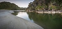 Smoothwater River near Jackson Bay at dawn, South Westland, West Coast, UNESCO World Heritage Area, New Zealand, NZ
