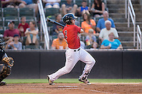 Alex Call (2) of the Kannapolis Intimidators follows through on his swing against the West Virginia Power at Kannapolis Intimidators Stadium on August 20, 2016 in Kannapolis, North Carolina.  The Intimidators defeated the Power 4-0.  (Brian Westerholt/Four Seam Images)