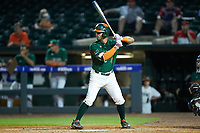 Johnny Ruiz (4) of the Miami Hurricanes at bat against the North Carolina Tar Heels in the second semifinal of the 2017 ACC Baseball Championship at Louisville Slugger Field on May 27, 2017 in Louisville, Kentucky. The Tar Heels defeated the Hurricanes 12-4. (Brian Westerholt/Four Seam Images)