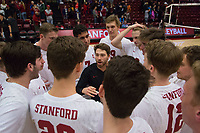STANFORD, CA - January 5, 2019: Kyle Dagostino, Cole Paullin, Jordan Ewert, Mason Tufuga, Stephen Moye at Maples Pavilion. The Stanford Cardinal defeated UC Santa Cruz 25-11, 25-17, 25-15.
