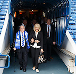 100 year old Rangers fan John Connelly escorted down the tunnel by daughter Carolyn Murdoch as he steps out onto the pitch to receive his honorary season ticket