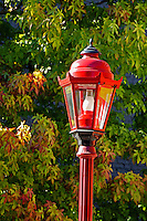 Red lamp post and autumn leaves, Chinatown, Vancouver, British Columbia, Canada