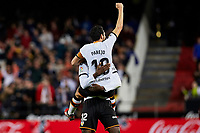1st February 2020; Mestalla, Valencia, Spain; La Liga Football,Valencia versus Celta Vigo; Dani Parejo of Valencia CF celebrates with Mouctar Diakhaby of Valencia CF after the goal scored by Carlos Soler of Valencia CF in minute 77' for 1-0