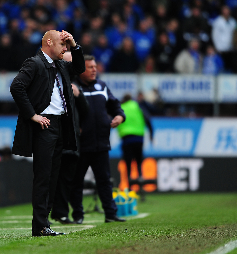 Burnley manager Sean Dyche scratches his head<br /> <br /> Photographer Chris Vaughan/CameraSport<br /> <br /> Football - Barclays Premiership - Burnley v Leicester City - Saturday 25th April 2015 - Turf Moor - Burnley<br /> <br /> &copy; CameraSport - 43 Linden Ave. Countesthorpe. Leicester. England. LE8 5PG - Tel: +44 (0) 116 277 4147 - admin@camerasport.com - www.camerasport.com