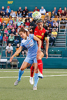 Rochester, NY - Friday July 01, 2016: Western New York Flash midfielder Abby Erceg (6), Chicago Red Stars forward Jennifer Hoy (2) during a regular season National Women's Soccer League (NWSL) match between the Western New York Flash and the Chicago Red Stars at Rochester Rhinos Stadium.