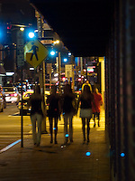 Street life at night in Providence, Rhode Island