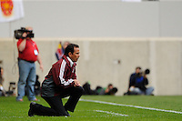 Colorado Rapids head coach Oscar Pareja. The New York Red Bulls defeated the Colorado Rapids 4-1 during a Major League Soccer (MLS) match at Red Bull Arena in Harrison, NJ, on March 25, 2012.
