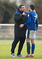 David Unsworth manager of Everton U23 and Antony Evans of Everton during the U23 - Premier League 2 match between Tottenham Hotspur U23 and Everton at Tottenham Training Ground, Hotspur Way, England on 15 January 2018. Photo by Vince  Mignott / PRiME Media Images.