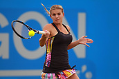 June 12th 2017,  Nottingham, England; WTA Aegon Nottingham Open Tennis Tournament day 3; Jana Fett of Croatia hits a forehand  in the 2nd set of her match against Mona Barthel of Germany