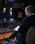 John Dickerson, Lin-Manuel Miranda and Alex Lacamoire from the 'Hamilton' creative team during a CBS Morning News interview taping with John Dickerson at The Library of Congress on December 2, 2018 in Washington, D.C.