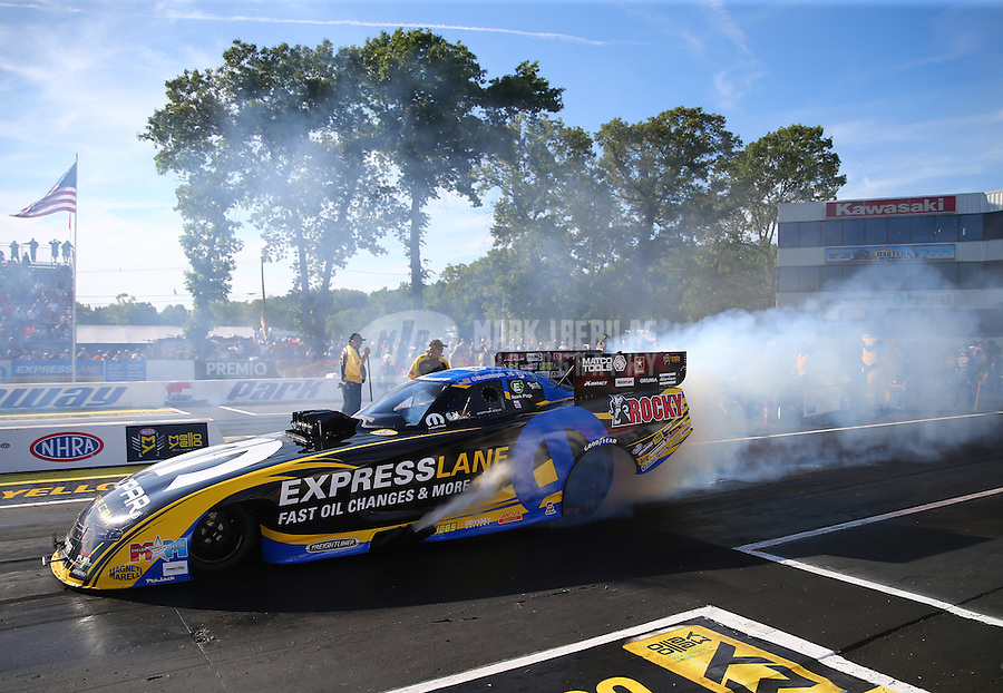 Jun 10, 2016; Englishtown, NJ, USA; NHRA funny car driver Matt Hagan during qualifying for the Summernationals at Old Bridge Township Raceway Park. Mandatory Credit: Mark J. Rebilas-USA TODAY Sports