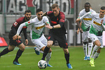 06.10.2019, Borussia-Park - Stadion, Moenchengladbach, GER, DFL, 1. BL, Borussia Moenchengladbach vs. FC Augsburg, DFL regulations prohibit any use of photographs as image sequences and/or quasi-video<br /> <br /> im Bild v. li. im Zweikampf Ramy Bensebaini (#25, Borussia Mönchengladbach) Andre Hahn (#28, FC Augsburg) <br /> <br /> Foto © nordphoto/Mauelshagen