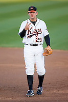 Brandon Snyder (29) of the Frederick Keys checks with the dugout to confirm the number of outs  at Harry Grove Stadium in Frederick, MD, Tuesday, April 15, 2008.