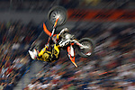 "Motocross driver performs a jump during the qualification round of the competition ""Night of the Jumps"" FIM FMX World Championship in Belgrade, Serbia, Saturday, May 12, 2007. (Srdjan Stevanovic/starsportphoto)"