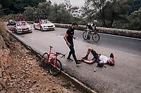 Jesus Ezquerra (ESP/Burgos-BH) crashed descending the slippery Coll de Soller<br /> <br /> Trofeo Lloseta - Andratx: 140km<br /> 27th Challenge Ciclista Mallorca