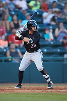 Tate Blackman (20) of the Kannapolis Intimidators at bat against the Hickory Crawdads at L.P. Frans Stadium on July 20, 2018 in Hickory, North Carolina. The Crawdads defeated the Intimidators 4-1. (Brian Westerholt/Four Seam Images)