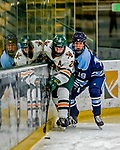 30 November 2018: University of Maine Black Bear Forward Michelle Weis, a Sophomore from Charlottenlund, Denmark, checks University of Vermont Catamount Forward Ève-Audrey Picard, a Junior from Longueuil, Québec, in second period action at Gutterson Fieldhouse in Burlington, Vermont. The Lady Bears defeated the Lady Cats 2-1 in the first game of their 2-game Hockey East series. Mandatory Credit: Ed Wolfstein Photo *** RAW (NEF) Image File Available ***