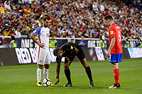 Harrison, NJ - Friday Sept. 01, 2017: Graham Zusi, John Pitti during a 2017 FIFA World Cup Qualifier between the United States (USA) and Costa Rica (CRC) at Red Bull Arena.