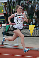Jackson sophomore Megan Barnum runs a leg of the Class 5, 4x800-meter relay where Jackson placed ninth in 9:36.69 at the 2015 Missouri State Track and Field Championships.