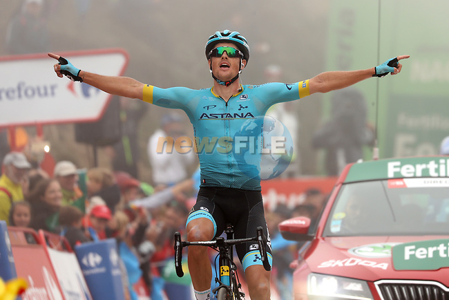Jakob Fuglsang (DEN) Astana Pro Team wins Stage 16 of La Vuelta 2019  running 144.4km from Pravia to Alto de La Cubilla. Lena, Spain. 9th September 2019.<br /> Picture: Luis Angel Gomez/Photogomezsport | Cyclefile<br /> <br /> All photos usage must carry mandatory copyright credit (© Cyclefile | Luis Angel Gomez/Photogomezsport)