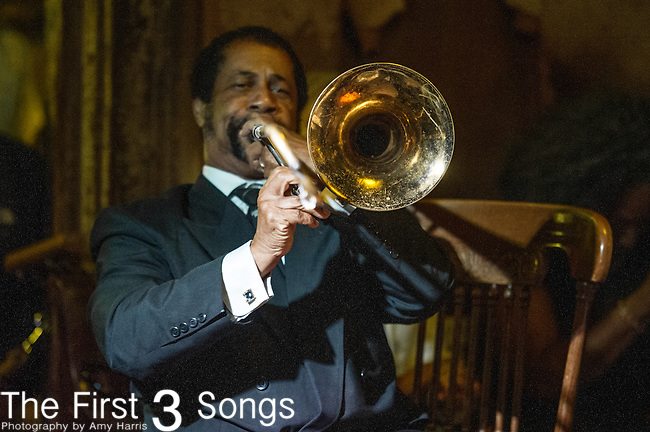 Freddie Lonzo of the Preservation Hall Jazz Band performs at Preservation Hall in New Orleans, LA.