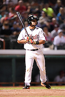 Tri-City ValleyCats second baseman Alex Hernandez (13) at bat during a game against the Batavia Muckdogs on August 2, 2014 at Joseph L. Bruno Stadium in Troy, New  York.  Tri-City defeated Batavia 8-4.  (Mike Janes/Four Seam Images)