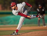 STOCKTON, CA - May 9, 2011: A.J. Vanegas of Stanford baseball pitches during Stanford's game against Pacific at Klein Family Field in Stockton. Stanford won 11-5.