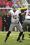 Connor Halliday looks for a receiver in a driving rainstorm during the Washington State Cougars Pac-12 conference show down with the Utah Utes at Rice-Eccles Stadium in Salt Lake City, Utah, on September 27, 2014.  The Cougs came back from a 21-0 deficit to defeat the previously unbeaten Utes, 28-27.