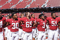 Stanford, CA - September 15, 2018: Alma Mater after the Stanford vs UC Davis football game Saturday at Stanford Stadium.<br /> <br /> The Cardinal scored 30. UC Davis 10.