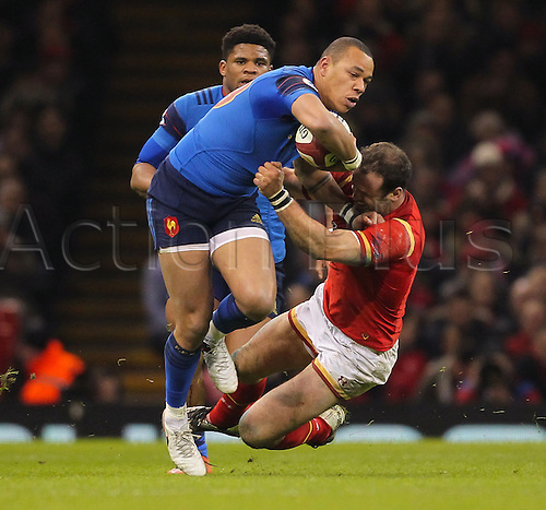 26.02.2016. Principality Stadium, Cardiff, Wales. RBS Six Nations Championships. Wales versus France. France's Gael Fickou gets tackled by Wales Jamie Roberts