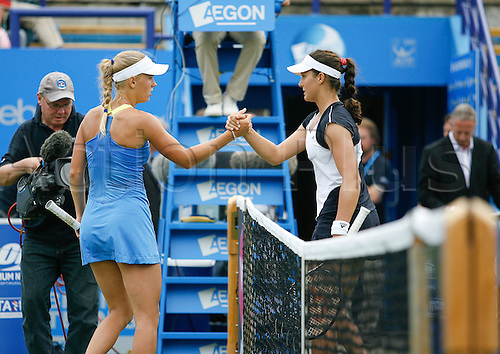 19.06.2013 Eastbourne, England.  Caroline Wozniacki(DEN) defeats Laura Robson(GBR) by a score 6-4 6-4 at the AEGON International tournament at Devonshire Park
