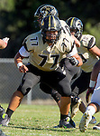 Palos Verdes, CA 09/25/15 - Angel Maya (Peninsula #77) in action during the Lawndale - Palos Verdes Peninsula Varsity football game at Peninsula High School.