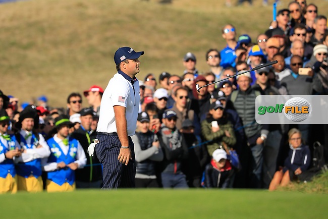 Patrick Reed (Team USA) during the Saturday Fourballs at the Ryder Cup, Le Golf National, Paris, France. 29/09/2018.<br /> Picture Phil Inglis / Golffile.ie<br /> <br /> All photo usage must carry mandatory copyright credit (© Golffile | Phil Inglis)
